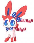 ambiguous_gender animated blue_eyes eeveelution feral hi_res nintendo pokémon robosylveon simple_background smile solo stars_and_stripes sylveon united_states_of_america video_games white_background  Rating: Safe Score: 21 User: JGG3 Date: June 05, 2015