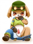 2014 anthro balls belt black_nose blush canine clothed clothing cute erection eyewear fur gloves goggles half-dressed hat kemono little_tail_story long_ears looking_down male mammal okunawa open_mouth orange_eyes pants partially_clothed penis simple_background sitting solatorobo solo spread_legs spreading tan_fur undressing white_fur young  Rating: Explicit Score: 4 User: FireXSpirit Date: July 24, 2015