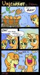 2014 absurd_res applejack_(mlp) blonde_hair carrot carrot_top_(mlp) comic cowboy_hat dialogue duo earth_pony english_text equine female freckles friendship_is_magic green_eyes hair hat hi_res horse laugh mammal my_little_pony orange_hair pony redapropos rock text wagon  Rating: Safe Score: 14 User: 2DUK Date: May 28, 2014