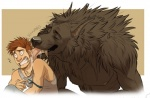 aerosocks anthro black_nose brown_hair canine clothing couple cute drugs duo eyes_closed fangs hair human licking licking_ear male mammal muscles nipples pecs saliva sharp_teeth shirt size_difference surprise syringe teeth tongue tongue_out were werewolf  Rating: Safe Score: 12 User: Vanzilen Date: July 12, 2015