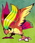ambiguous_gender avian beak bird colorful crouching feral looking_at_viewer nintendo pidgeot pokémon smile solo standing talons the-chu video_games wings   Rating: Safe  Score: 4  User: UNBERIEVABRE!  Date: July 07, 2014