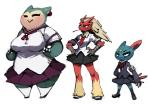 anthro armband avian bandage big_breasts bird bittenhard blaziken blue_eyes blush breasts chicken clothing eyes_closed female group hands_on_hips larger_female legwear nintendo non-mammal_breasts plain_background pokémon schoolgirl size_difference skirt smaller_female smile sneasel snorlax stockings uniform video_games white_background wide_hips   Rating: Safe  Score: 15  User: chdgs  Date: May 10, 2015