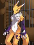 bars black_nose blue_eyes breasts chest_tuft claws collar digimon facial_markings female fur gloves joseluisbelmont looking_at_viewer markings navel nipples nude pussy renamon solo standing tuft white_fur   Rating: Explicit  Score: 11  User: ChestFox  Date: March 23, 2014