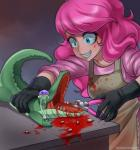 2013 alligator apron blood blue_eyes duo english_text female friendship_is_magic gore gummy_(mlp) hair human humanized mammal my_little_pony pink_hair pinkie_pie_(mlp) pliers purple_eyes racoon-kun reptile scalie smile tears teeth text tools  Rating: Questionable Score: 0 User: Falord Date: December 23, 2013