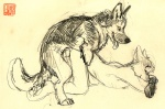 anthro anthro_on_feral bestiality canine dog duo feral from_behind interspecies java knot male male/male mammal monochrome plain_background sepia sex sketch yellow_background yellow_theme   Rating: Explicit  Score: 5  User: Kitsu~  Date: March 17, 2011