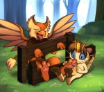 3_toes ambiguous_gender avian beak blue_eyes brown_hair digitigrade eyes_closed eyrie feather forest hair hindpaw kinglom male meowth neopets nintendo open_mouth outside paws pokémon sitting soles stocks tickling tickling_feet toes torture tree video_games wings wood   Rating: Safe  Score: 11  User: DragonRanger  Date: July 28, 2012