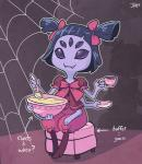 2015 anthro arachnid arthropod black_hair bowl english_text fangs female food grey_skin hair hair_bow jpmeshew muffet noseless plate purple_eyes shadow signature sitting smile solo spider spider_web spoon stool tea_cup text undertale  Rating: Safe Score: 2 User: ROTHY Date: October 02, 2015