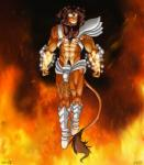 2015 abs absurd_res armor balls boots brown_fur brown_hair chain clothing clownboy1 codpiece collar dark destroy digital_media_(artwork) feline fire floating flying footwear fur gem glowing gold_(metal) hair hairy hi_res jewelry lion male mammal mature muscular necklace penis toned uncut  Rating: Safe Score: 1 User: ClownBoy1 Date: November 09, 2015
