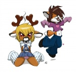 anthro blonde_hair brown_hair canine cervine chibi cigarette clothed clothing collar cox crossdressing cute deer digital_media_(artwork) duo eyes_closed fox gideon hair looking_at_viewer male mammal red_eyes ruger smoking