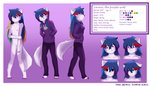 absurd_res anthro blue_hair breasts canid canine canis clothed clothing drefurr erdfurry female fur hair hi_res lanna_(erdfurry) mammal model_sheet multicolored_hair nude purple_body purple_fur wolf