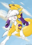 anthro areola bandai breasts canine cloud cloudscape collaboration dark-ahroun-friesian digimon female fox mammal nipples northboundfox open_mouth outside purple_eyes renamon sky solo   Rating: Questionable  Score: 2  User: NorthboundFox  Date: September 27, 2011
