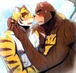 anthro athletic bear bearlovestiger13 biceps blush brown_fur chest_tuft duo feline fur interspecies juuichi_mikazuki male male/male mammal morenatsu muscular nipples open_mouth pecs shower teeth tiger tongue torahiko_(morenatsu) tuft  Rating: Questionable Score: 4 User: Vallizo Date: June 28, 2015
