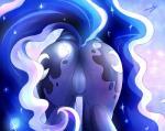 2014 blue_fur blue_hair butt cutie_mark equine featureless_crotch female feral friendship_is_magic fur glowing hair kyodashiro long_hair mammal my_little_pony princess_luna_(mlp) solo   Rating: Questionable  Score: 22  User: lemongrab  Date: April 30, 2014