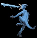 ambiguous_gender anthro avian beak bird blue_feathers duck feathers feet gem golduck nintendo pokémon pokémon_(species) solo tongue twarda8 video_games water webbed_feet webbed_hands
