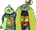 2017 anthro blue_eyes blush cape clothed clothing cross crown duo eye_contact freckles green_eyes hand_under_chin inkyfrog jewelry male michelangelo_(tmnt) necklace raphael_(tmnt) reptile ring scalie shell simple_background standing teenage_mutant_ninja_turtles turtle white_backgroundRating: SafeScore: 1User: JAKXXX3Date: September 21, 2017
