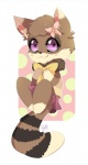 anthro blush bow brown_fur chibi clothing cub female flower fur iguky looking_at_viewer mammal momo multicolored_fur plant raccoon solo tanuki young  Rating: Safe Score: 10 User: SirBrownBear Date: June 26, 2015