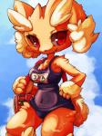 anthro brown_fur clothing female fur g lagomorph lopunny mammal nintendo pokémon red_eyes smile solo swimsuit video_games  Rating: Safe Score: 2 User: HectorVonDoom Date: November 11, 2015