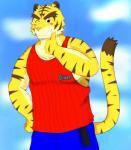 anthro blue_eyes clothing feline fur male mammal morenatsu simple_background smile solo tiger torahiko_(morenatsu)  Rating: Safe Score: 0 User: Kod Date: June 24, 2015