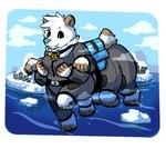 backpack baronknight clothing collar female humor ice jumpsuit mammal multi_arm multi_leg multi_limb polar_bear pun solo taur ursid ursine visual_pun water
