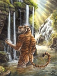 anthro bathing biceps biped black_fur blotch butt casual_nudity detailed_background ears_back eyes_closed felid forest fur male mammal markings muscular nature nude orange_fur outside painting_(artwork) pantherine partially_submerged pink_nose pose rear_view river rock shower sky solo standing stripes tiger traditional_media_(artwork) tree water watercolor_(artwork) waterfall wet whiskers white_fur