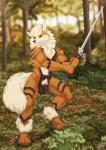abs absurd_res anthro arcanine balls biceps black_fur black_nose brown_fur canine claws flaccid fur furryratchet goldenfur goldyne hair hi_res humanoid_penis male mammal melee_weapon muscular muscular_male nintendo nude pecs penis pokémon red_eyes solo standing sword teeth toe_claws uncut video_games weapon were werewolf white_fur white_hair  Rating: Explicit Score: 8 User: Vallizo Date: January 20, 2016