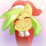 3mangos blush christmas clothing costume equine eyes_closed fan_character green_hair hair hand_on_face hand_on_head hat holidays horse mammal my_little_pony pony santa_costume santa_hat shirt smile  Rating: Safe Score: 3 User: Gundam4Ever Date: July 03, 2015""