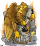 anthro avian bird clothing destruction erection erection_under_clothes eyes_closed falcon humanoid_penis macro male muscular muscular_male nude outside penis smile solo uniparasiteRating: ExplicitScore: 0User: Cat-in-FlightDate: September 26, 2017