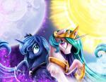 2015 blue_eyes blue_hair crown duo equine eyeshadow female friendship_is_magic gold hair horn jadedjynx makeup mammal moon multicolored_hair my_little_pony necklace princess princess_celestia_(mlp) princess_luna_(mlp) purple_eyes royalty sibling sisters sparkles star sun winged_unicorn wings   Rating: Safe  Score: 8  User: 2DUK  Date: April 15, 2015