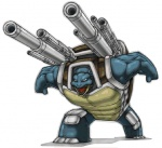amazing ambiguous_gender armor blastoise blue_body blue_skin cannon nintendo open_mouth pokémon ranged_weapon reptile scalie shadow shell simple_background solo tongue turtle unknown_artist video_games weapon white_background