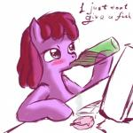 2011 alcohol berry_punch_(mlp) beverage blush cigarette drinking drunk english_text equine female friendship_is_magic horse mammal my_little_pony plain_background pony shaded snus-kun solo text white_background wine   Rating: Safe  Score: 2  User: Jatix  Date: March 10, 2014