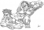 anthro black_and_white butt canine clothing dog feline fight fundoshi grope male mammal monochrome muscular speedo surprise swimsuit tiger underwear wrestling xkoshiji  Rating: Questionable Score: 0 User: artwolfie Date: April 24, 2015