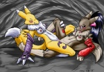 anthro breasts canine digimon duo eyewear female female/female fox fur glasses mammal nipples pussy pussy_juice renamon s-nina sex tribadism white_fur yellow_fur  Rating: Explicit Score: 14 User: NotMeNotYou Date: August 24, 2012