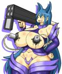 anthro big_breasts blue_hair blush breasts canine clothed clothing dr.bug eyes_closed female hair lactating mammal milk milking_machine plain_background ranged_weapon rocket_launcher skimpy solo weapon   Rating: Questionable  Score: 4  User: Pasiphaë  Date: January 31, 2015
