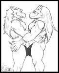 anthro blaziken bulge clothing duo elfein embrace male male/male monochrome muscular nintendo nipples pokémon smile standing tattoo underwear video_gamesRating: QuestionableScore: 0User: Cat-in-FlightDate: March 30, 2017