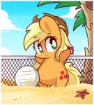 applejack_(mlp) beach blonde_hair blush cloud cowboy_hat cute cutie_mark earth_pony equine female feral freckles friendship_is_magic fur green_eyes hair hat horse lifeloser long_hair mammal marine my_little_pony net orange_fur outside palm_tree pony sand seaside sky slightly_chubby smile solo sport starfish tree volleyball volleyball_net