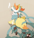 ambiguous_gender black_fur blush braixen canine duo eyes_closed fox fur inner_ear_fluff japanese_text mammal nintendo paws plain_background pokémon shaking stick suspension tangela tentacles text translated video_games winte yellow_fur  Rating: Questionable Score: 11 User: rulethirtyfawn Date: May 28, 2015""
