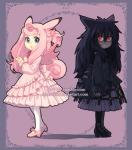 abstract_background animal_humanoid black_hair blouse blue_eyes boots clefable clothed clothing dav-19 dress duo female footwear fully_clothed gengar hair humanoid legwear looking_at_viewer mammal nintendo pink_hair pokemon_humanoid pokémon pokémon_(species) red_eyes shoes side_view skirt standing tights video_games wings
