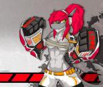 absurd_res anthro breasts clothed clothing cybernetics ear_piercing female fish hi_res machine marine navel piercing shark slit_pupils smile solo teeth under_boob xaenyth  Rating: Safe Score: 4 User: EmoCat Date: February 09, 2016
