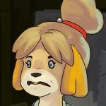 animal_crossing bell blonde_hair canid canine canis digital_media_(artwork) disturbed domestic_dog female fur hair hair_bell hair_ornament hair_tie horrified icon isabelle_(animal_crossing) low_res mammal newd nintendo open_mouth reaction_image shih_tzu shocked solo video_games whip yellow_fur