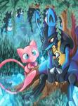 blue_eyes blue_fur canine feral fur iris-sempi legendary_pokémon lucario mammal mew nintendo pokémon red_eyes spikes tree video_games  Rating: Safe Score: 14 User: Rad_Dudesman Date: April 04, 2016