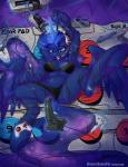 2015 absurd_res anthro bdsm berndem-bones blue_eyes blue_hair bondage bound bra clothing controller equine female friendship_is_magic glowing hair headset hi_res hooves horn long_hair lying magic mammal my_little_pony navel nintendo_64 on_back open_mouth panties princess_luna_(mlp) solo spread_legs spreading tongue tongue_out underwear winged_unicorn wings   Rating: Questionable  Score: 16  User: lemongrab  Date: January 31, 2015
