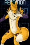 2013 anthro biped black_background black_sclera blue_eyes canine digimon digital_media_(artwork) dipstick_tail featureless_crotch female fidchell fox fur mammal mane markings navel neck_ruff nude purple_armwear renamon simple_background solo standing three-quarter_portrait tuft white_fur yellow_fur  Rating: Safe Score: 7 User: Fidchell Date: February 07, 2013