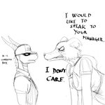 1:1 activision angry anthro beastars canid canine canis clothing dialogue dragon duo english_text female furgonomics hat headgear headwear hi_res hladilnik juno_(beastars) male mammal monochrome sharp_teeth simple_background sketch spyro spyro_the_dragon teeth text video_games white_background wolf