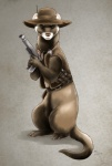 belt blaster_pistol charlie female feral ferret gun hat mammal moodyferret mustelid ranged_weapon space_ferret vest weapon western   Rating: Safe  Score: 13  User: MoodyFerret  Date: December 20, 2012