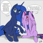 2015 blue_hair blush dialogue duo embarrassed english_text equine female feral friendship_is_magic hair horn looking_at_viewer mammal multicolored_hair my_little_pony princess_luna_(mlp) silfoe simple_background teal_eyes text twilight_sparkle_(mlp) underhoof winged_unicorn wings  Rating: Safe Score: 20 User: Robinebra Date: November 14, 2015