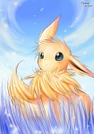 2010 abstract_background ambiguous_gender artistic black_nose blue_eyes brown_fur canine eevee feral fur grass looking_at_viewer mammal nintendo pokémon sky solo sunny_(artist) tuft video_games   Rating: Safe  Score: 2  User: Hydr0  Date: February 15, 2015