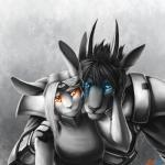 2015 abstract_background android anthro armor avalenna blue_eyes breasts clothing conditional_dnp dress duo faraden female happy lagomorph machine male mammal orange_eyes photon rabbit ratte ratteguhn robot simple_background smile