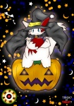 """abstract_background ambiguous_gender anthro cape claws clothing fluffy_tail fur fur_markings halloween hat holidays jack_o'_lantern kemono looking_at_viewer mammal mongoose nintendo pokémon pumpkin solo standing video_games white_fur yami zangoose  Rating: Questionable Score: 1 User: terminal11 Date: April 25, 2014"""""""