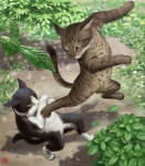 2015 ambiguous_gender cat duo feline fight flower kung_fu leaf mammal on_hind_legs outside plant shadow taku whiskers yellow_eyes  Rating: Safe Score: 27 User: AnacondaRifle Date: September 10, 2015