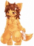 2015 4_toes anthro areola big_ears blush breasts brown_eyes brown_hair canine chest_tuft cloth cub female fox fur hair kneeling loli mammal navel nipples open_mouth orange_fur plain_background pussy solo toes tuft wahitouppe white_background young   Rating: Explicit  Score: 9  User: Just_Another_Dragon  Date: February 21, 2015